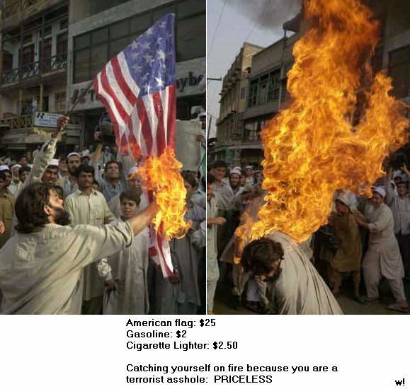seekcodes funny priceless picture american flag burner terrorist catches fire