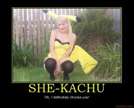 she kachu pikachu pokemon ash misty team rocket cosplay cosp demotivational