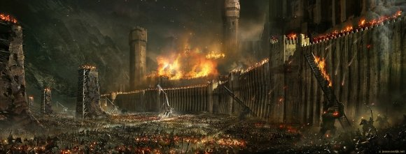 siege minas tirith seriously cool wallpapers