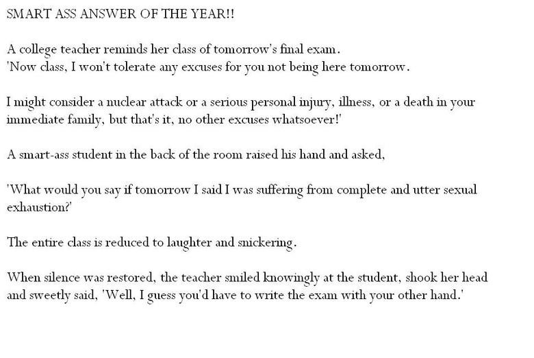 Smartass answers of the year