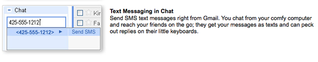 smsshot - new feature on gmail: free sms messaging from chat