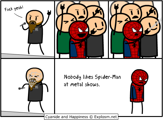 spiderman metal shows cyanideamphappiness
