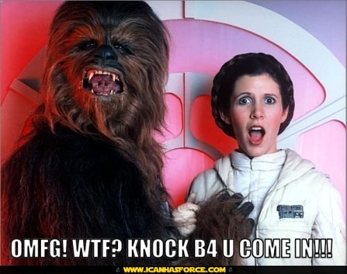 star wars chewbacca leia knock before come