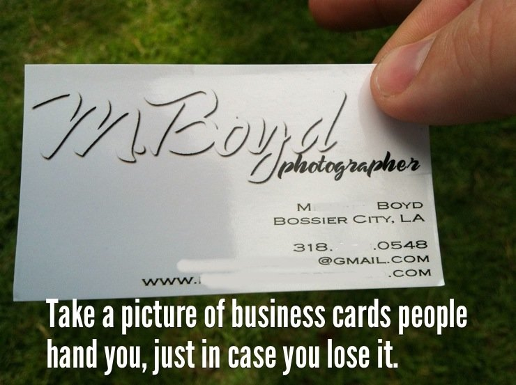 take picture name card