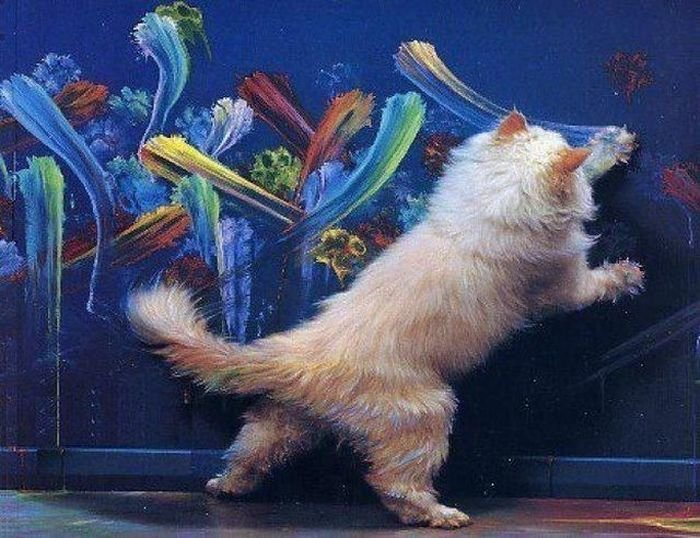 talented painter cat