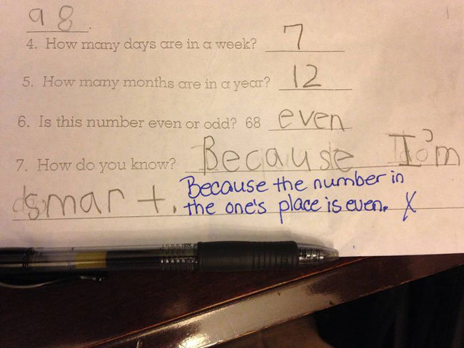 test answers are totally wrong but genius