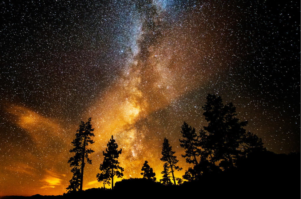 milky way spreads upward from these tress sand harbor lake tahoe