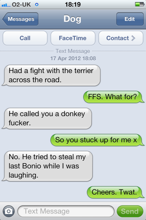 tumblr m2n69e0r7n1rt9zy5o1 500 - that's right, it's more canine capers in texts from dog.