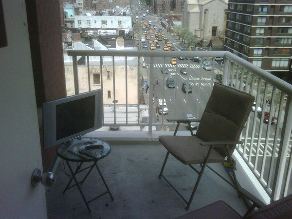 tv outside - wife can't tell me to get away from the tv and go outside anymore