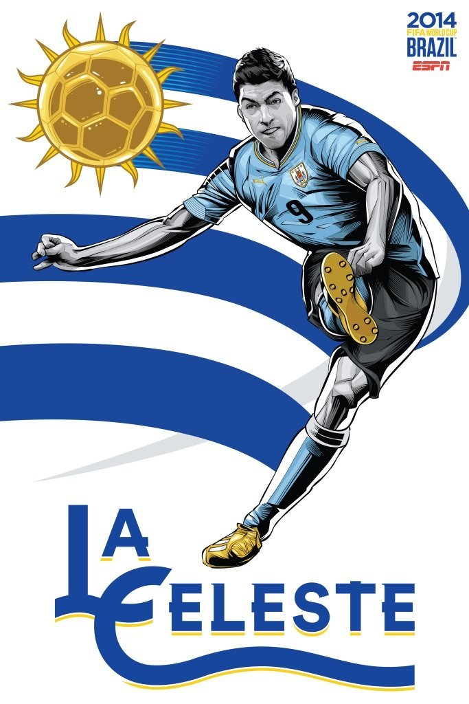 uruguay - world cup 2014 team posters