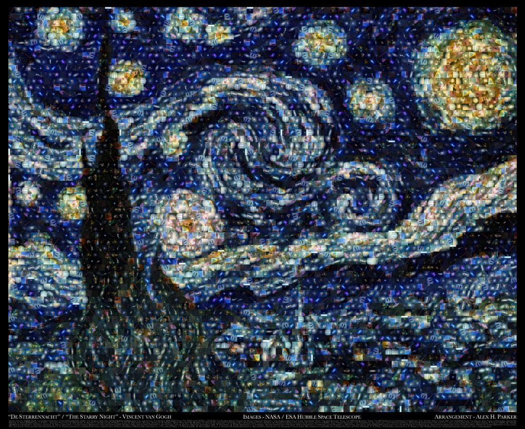 vincent van goghs quotstarry nightquot made from hubble images