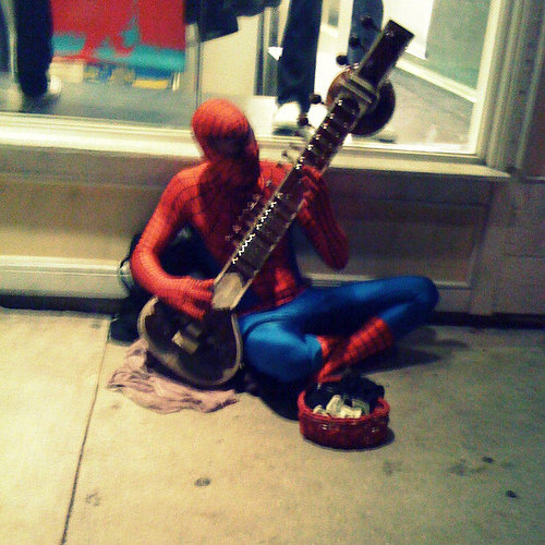 wanted test power google searched for spider man playing sitar