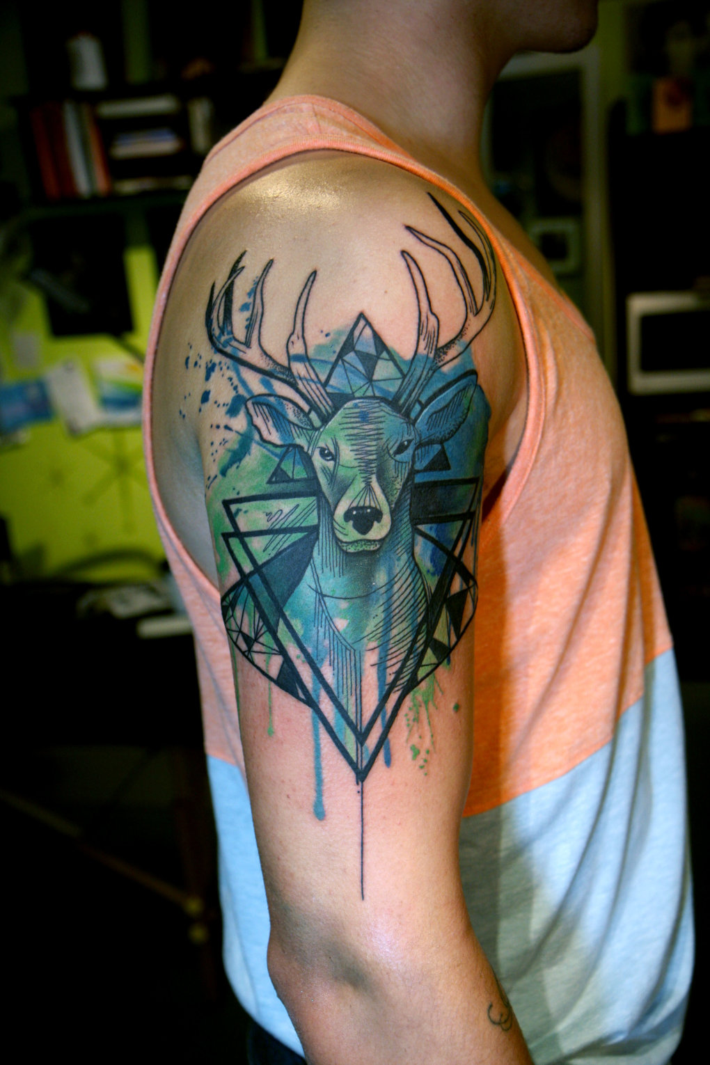 watercolor geometric stag tattoo