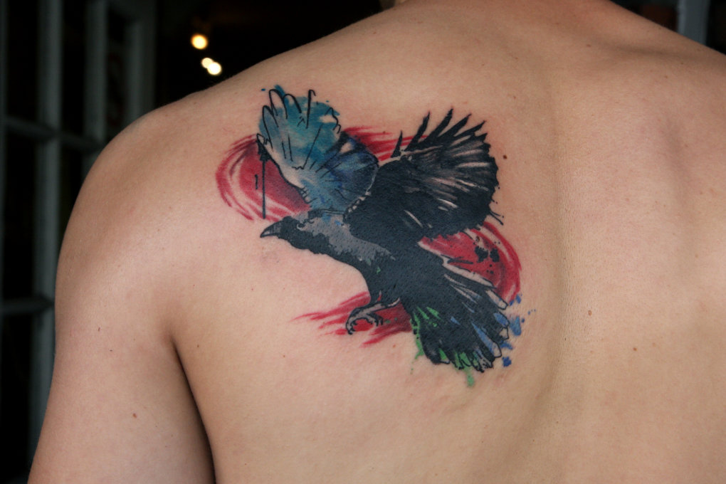 watercolor raven tattoo