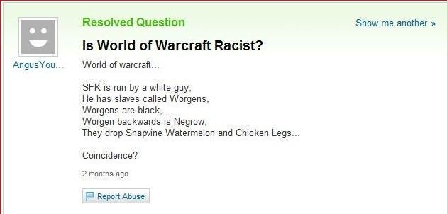 world warcraft racist