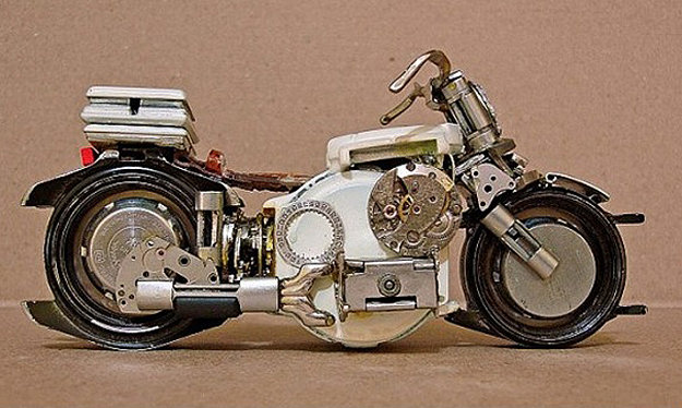 wrist watch motorcycle scuptures