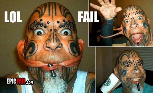 fail epic showoff fail tats piercings weird