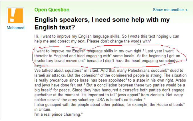 yahoo - nervous about speaking english