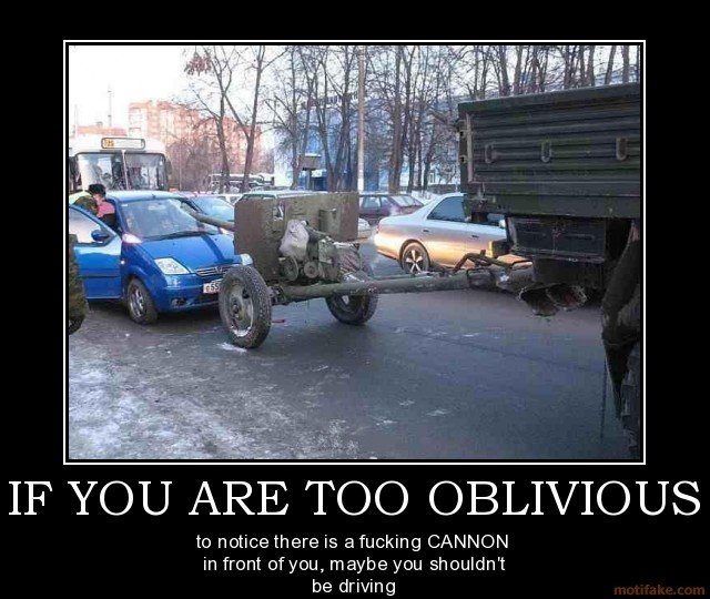 are too oblivious demotivational poster